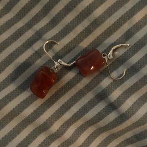 Precious stones earrings sterling jasper /or corn
